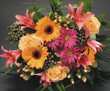 Orange and Pink Hand tied bouquet